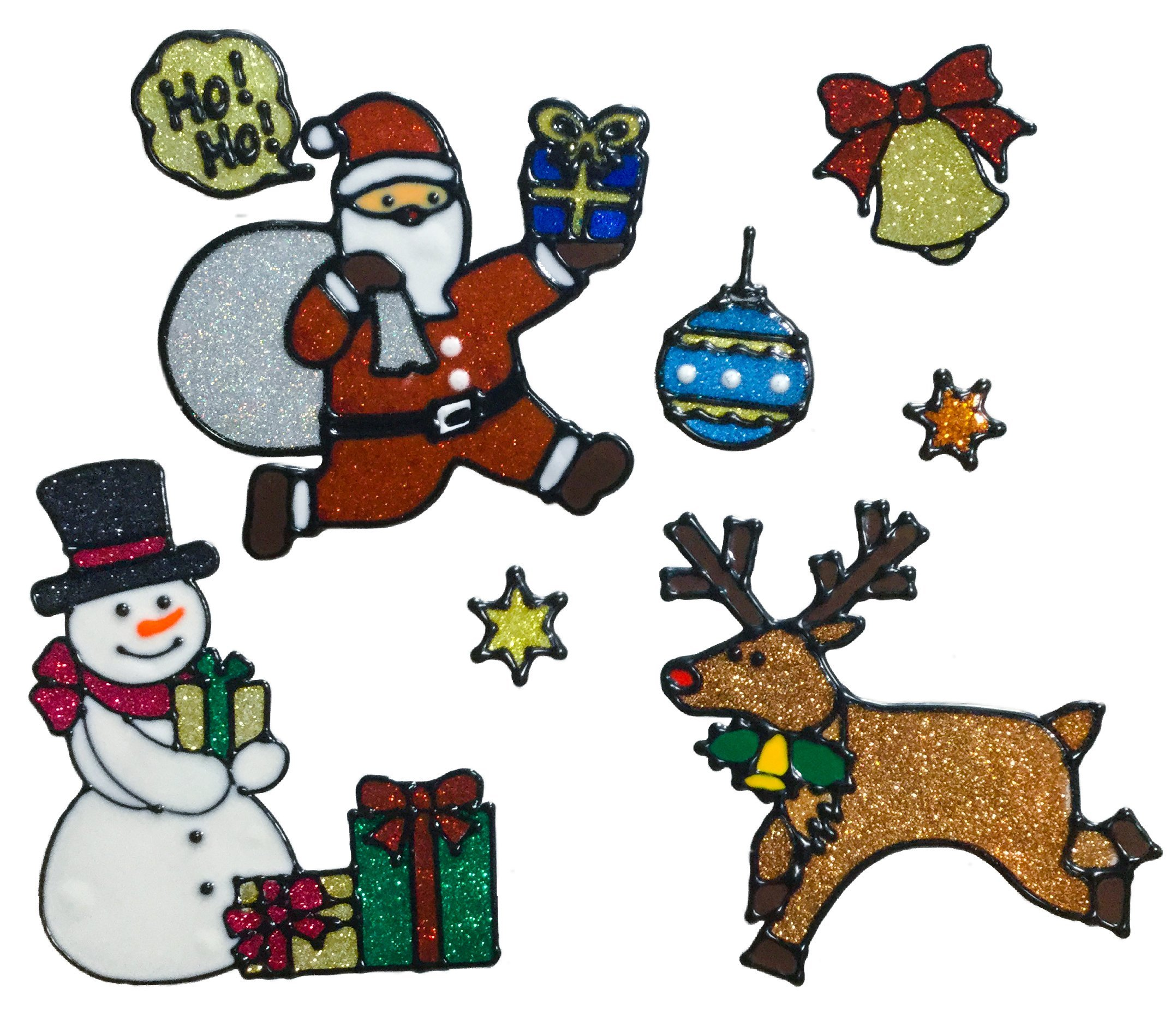Christmas Decoration Window Clings Stickers Shimmer Stickers