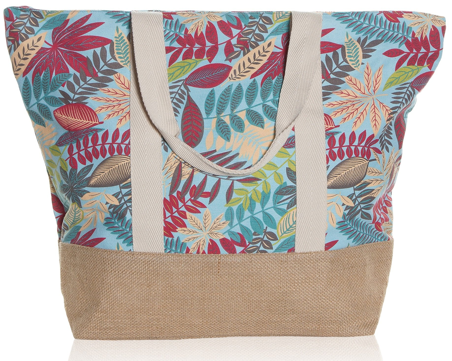 "Beach Bag By Pier 17 - Tote Bag For The Beach, Roomy 20''x18''x6"", Zipper Closure (Tropic Leaves Multi)"