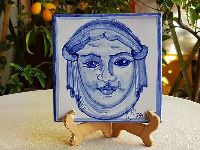 Mattonella in ceramica siciliana dipinta a mano. piastrella