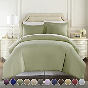 Hotel Luxury 3pc Duvet Cover Set-1500 Thread Count Egyptian Quality Ultra Silky Soft Premium Bedding Collection-Queen Size Sage