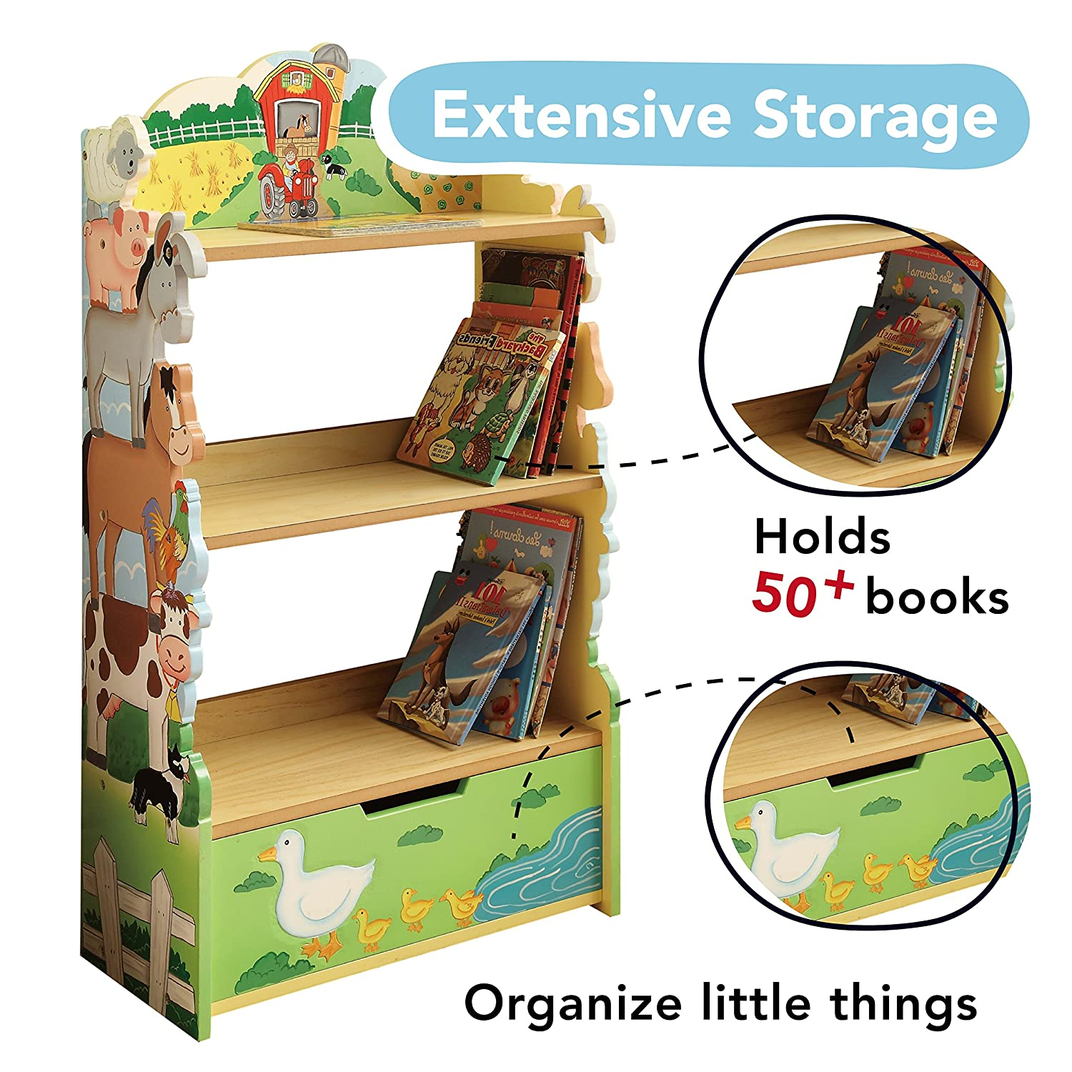 Lead Free Water-based Paint Transportation Thematic Kids Wooden Bookcase with Storage Non-Toxic Fantasy Fields Imagination Inspiring Hand Crafted /& Hand Painted Details