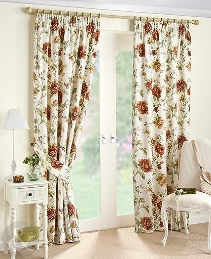 SHABBY CHIC FLORAL PENCIL PLEAT COTTON CREAM CURTAINS X - Laura ashley  floral curtains