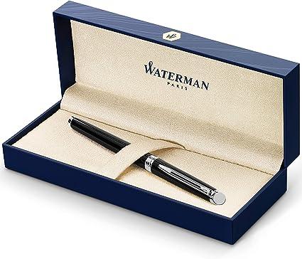 Waterman Hémisphère pluma estilográfica, con adorno cromado, plumín fino con cartucho de tinta negra, estuche de regalo, color negro brillante: Amazon.es: Oficina y papelería