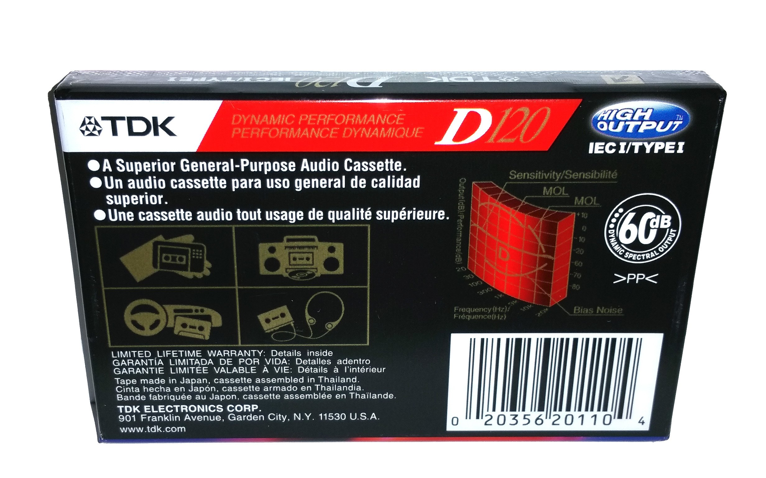 TDK Dynamic Performance D120 High Output IEC I / Type I - 5 Pack Audio Cassette Tapes