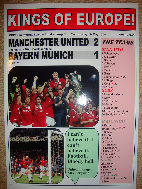 Lilywhite Multimedia Manchester United 2 Bayern Munich 1-1999 Champions League Final - Souvenir Print