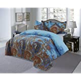 Love2Sleep LIGHTWEIGHT COTTON RICH 5 PIECES ORIENTAL PRINTED COMFORTER BEDSPREAD SET - SHAHIDA