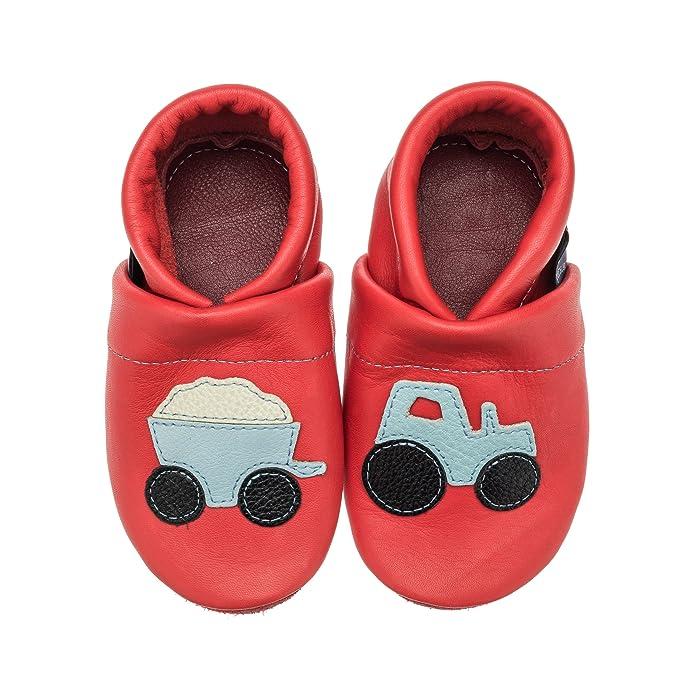 pantau.eu pantau.eu Kinder Lederpuschen Lauflernschuhe Traktor mit Anhänger - Zapatillas de estar por casa de Piel Lisa para niño, color Amarillo, talla 20