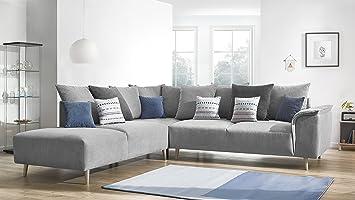 Bobochic LONDON Canapé d angle gauche Tissu Gris Clair 290 x 267 x