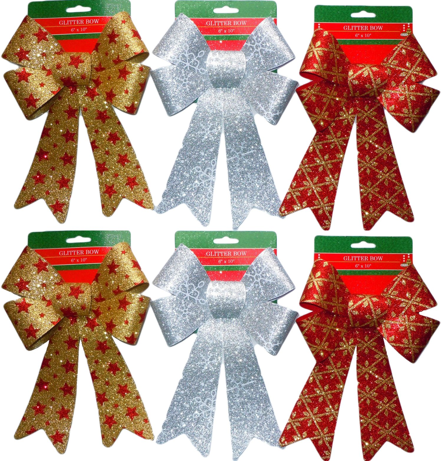 Glitter Christmas Bows 6x10 Inches - 6 Large Bows