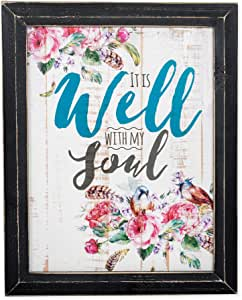 P. Graham Dunn It is Well with My Soul Roses and Birds Design 18 x 14 Weathered Black Framed Art Wall Sign