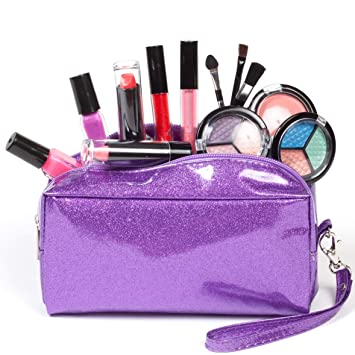 b2b702883a22 SmartEmily Washable Kids Makeup Set for Girls and Teens with Glitter  Cosmetics Bag (Lilac Purple)