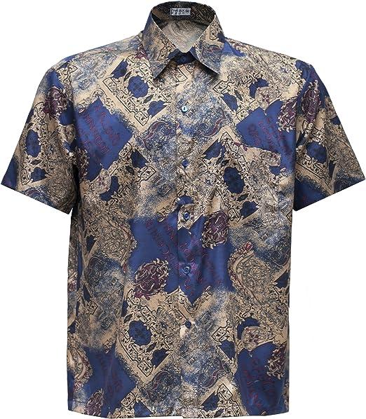 Camisa para hombre de manga corta, tejido de seda tailandesa, con diseño en estampado clásico dorado, dorado, Large: Amazon.es: Hogar