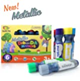 Metallic Dab and Dot Markers 6 Pack in Silver, Red, Gold, Blue, Green and Purple
