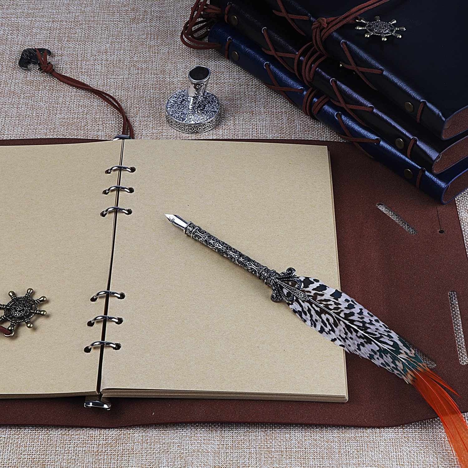 Handmade Large-Sized Retro Leather Corsair Notepad Travel Journal Notebook Drawing Sketch Writing Classic Nautical Guide Dial Embossed Vintage Copper Pendant 80sheets A5 Blank Unlined Paper (coffee) by molshine (Image #6)