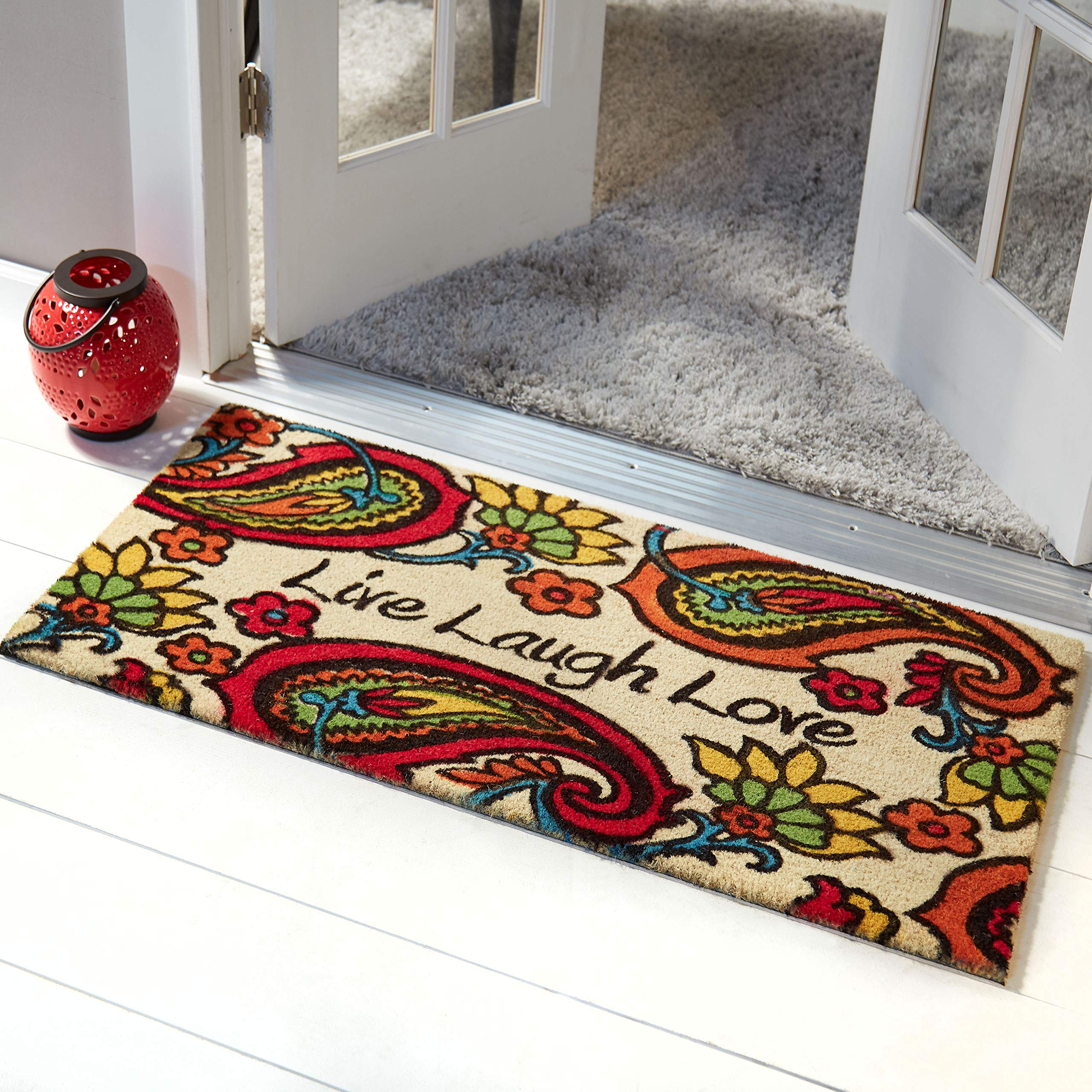 Home Dynamix Nicole Miller Fremont 'Live/Laugh/Love' Coco Coir Outdoor Door Mat 22''x47'', Paisley Orange/Red/Gold Multi