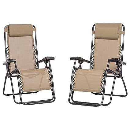 Good Caravan Canopy Beige Zero Gravity Chairs Pack Of Two, Beige