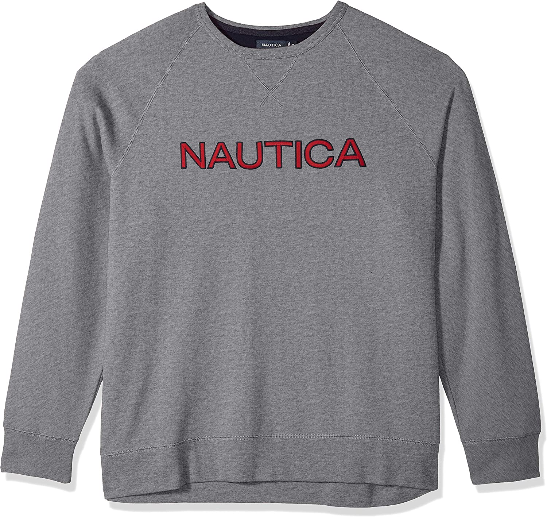 Nautica Mens Long Sleeve Crew Neck French Terry Sweatshirt