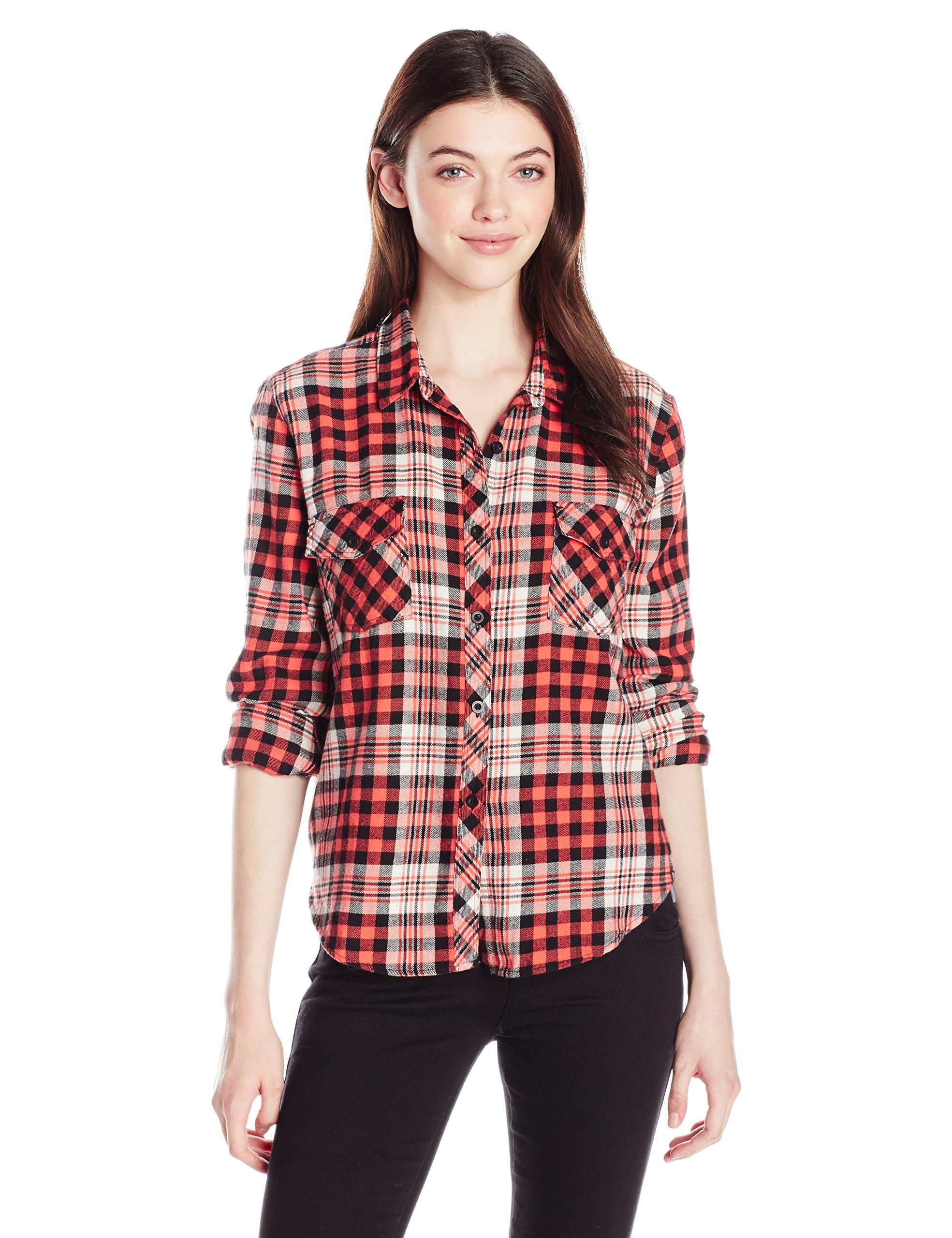 Volcom Junior's Kindling Yarn Dyed Vintage Style Flannel Shirt, PSP, L