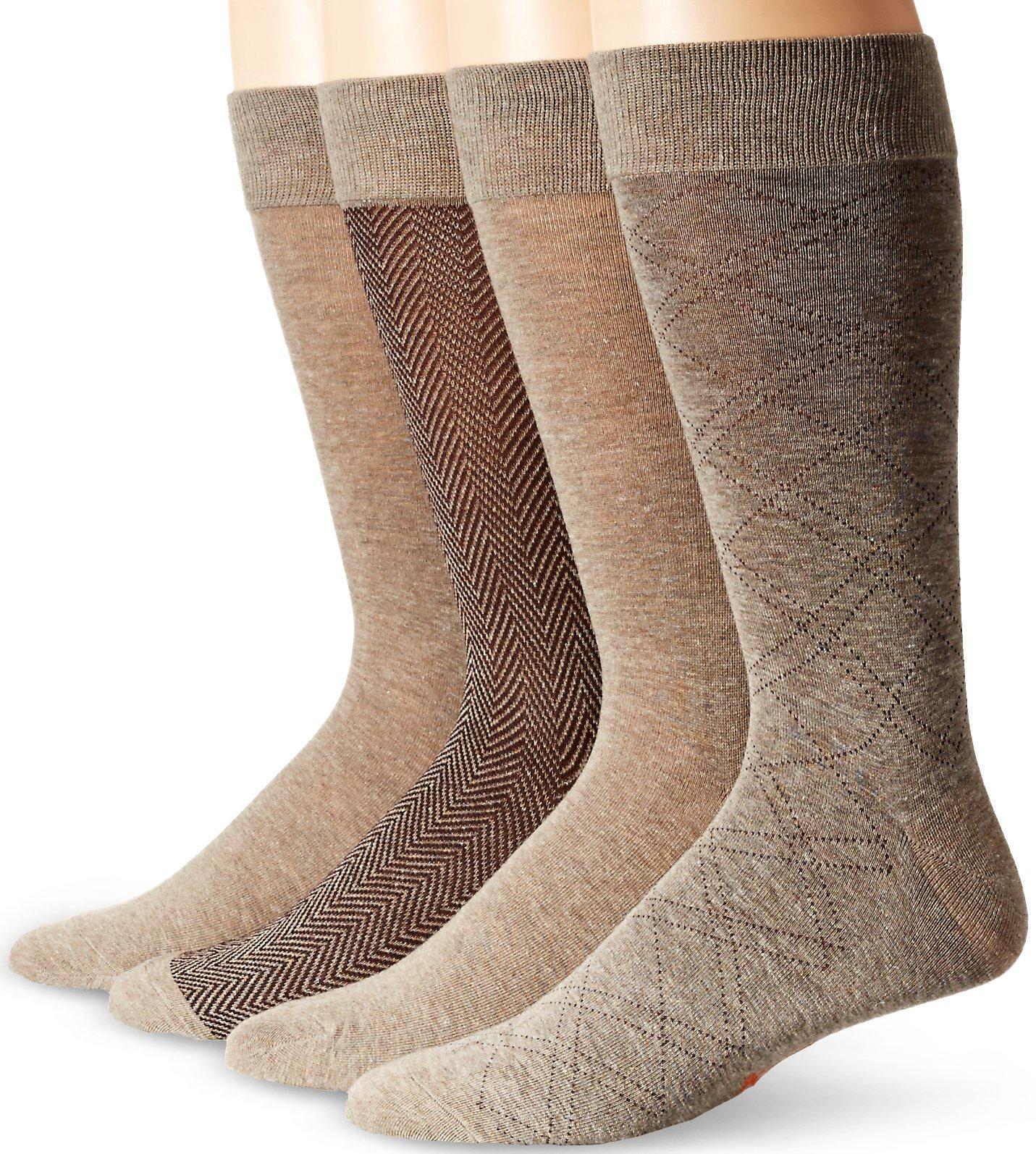 Dockers Men's 4 Pack Herringbone Dress, Light Brown Heather Assorted, Sock Size:10-13/Shoe Size: 6-12