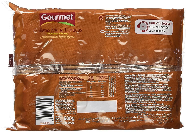 Gourmet - Galletas María Doradas - Bañada con aceite de girasol - 4 x 200 g: Amazon.es: Alimentación y bebidas