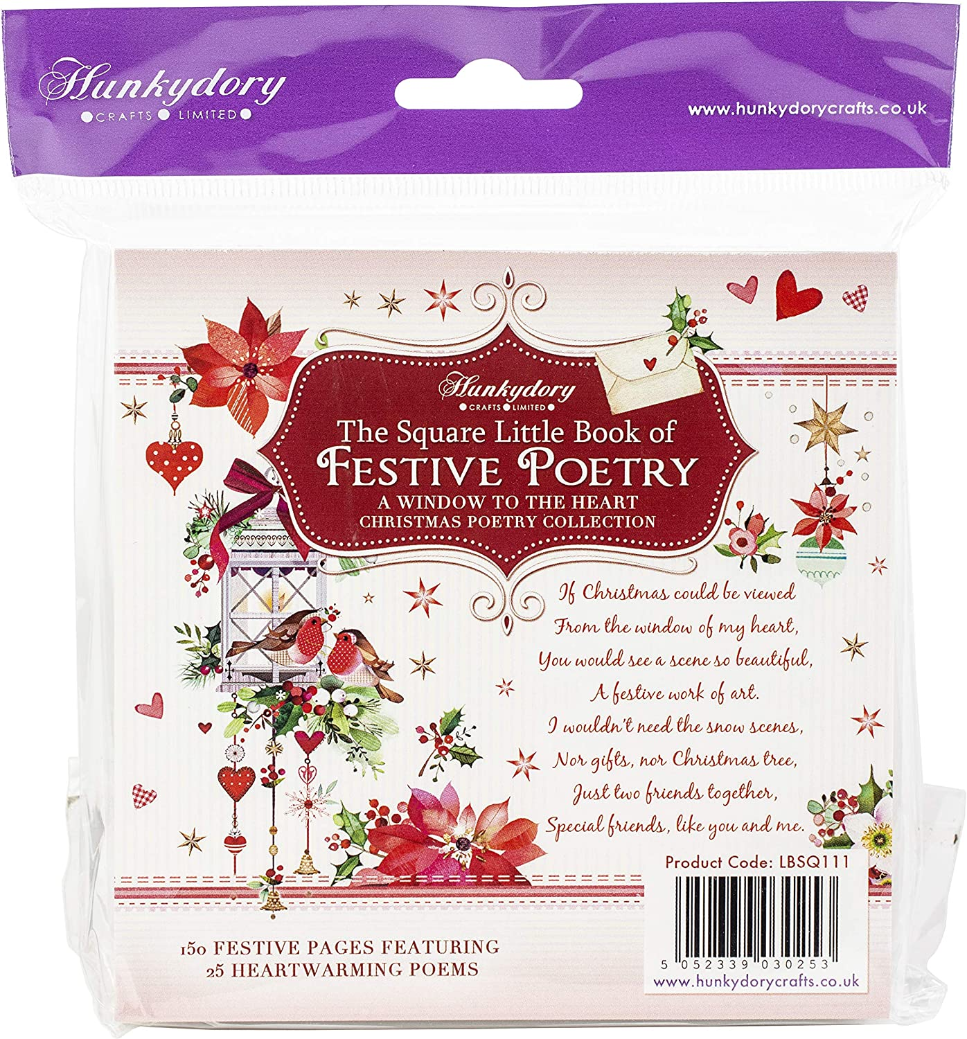 Hunkydory Square Little Book of Festive Poetry 150 Pages 5x5-inches LBSQ111