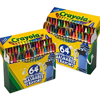 Crayola 64ct Ultra Clean Washable Crayons, 2 Pack Bulk Crayon Set, Gift for Kids: Toys & Games