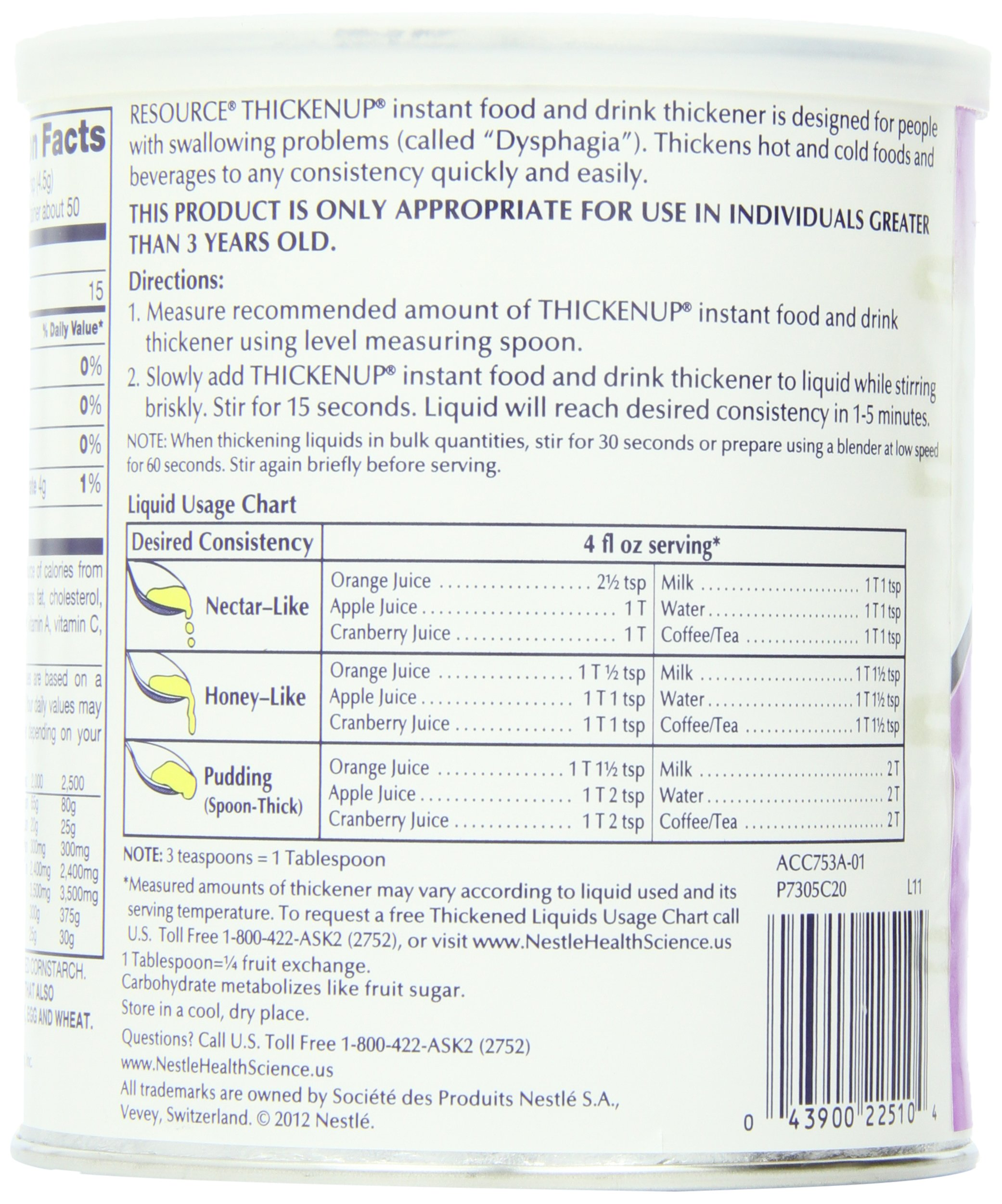 Resource ThickenUp Instant Food & Drink Thickener Powder, Unflavored, 8 Ounce Canister (Pack of 12) by ReSource (Image #6)