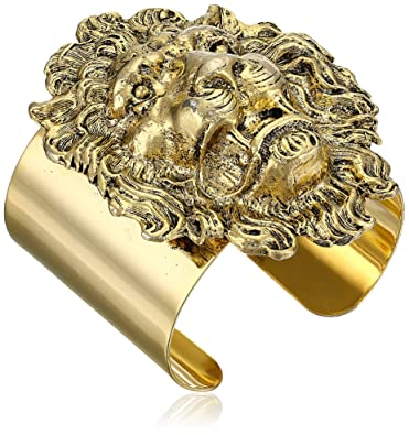 "Amazon Yochi Lion Head 14k Gold Plated Cuff Bracelet 5"" Jewelry"