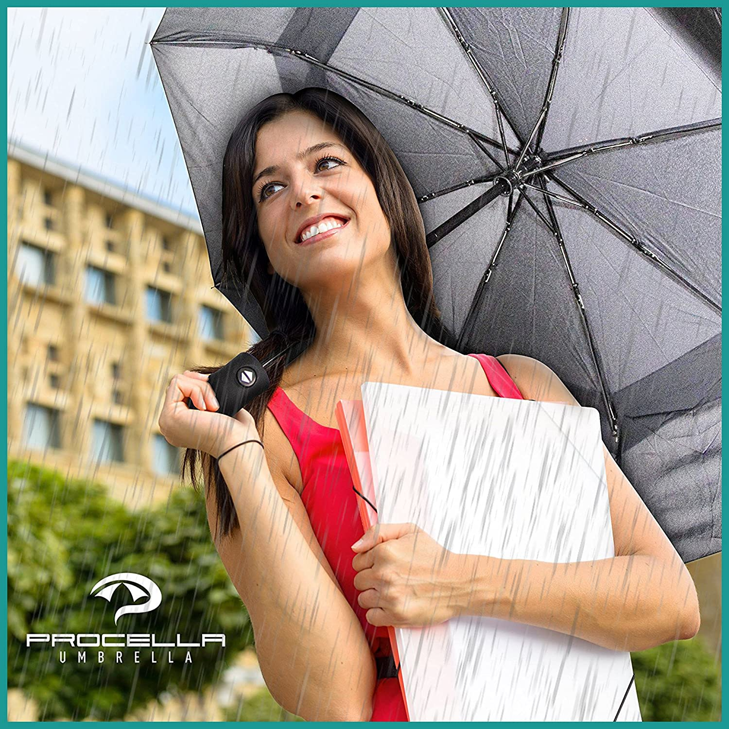 381e868e4d5e Amazon.com: Procella Windproof Travel Umbrella - Small Collapsible ...