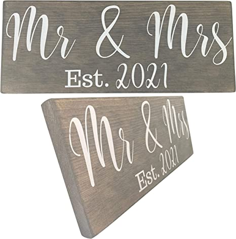 Mr /& Mrs Est 2020 Letters Wedding Wooden Sign Newlywed Wood Decoration Party New