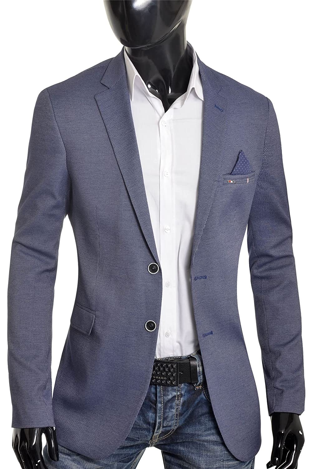 D&R Fashion Mens Classic Design Blazer Jacket Blue Casual Contrast Finish Slim Soft Cotton at Amazon Mens Clothing store: