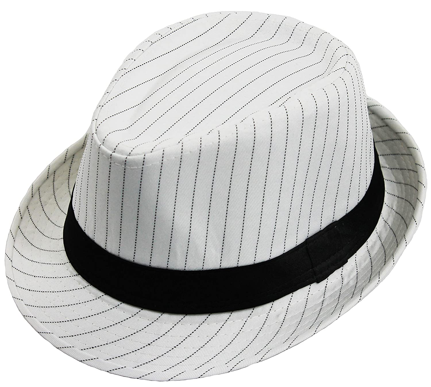 f073a1060 DELUXE PINSTRIPE TRILBY HAT WHITE WITH BLACK STRIPE & BLACK BAND ...