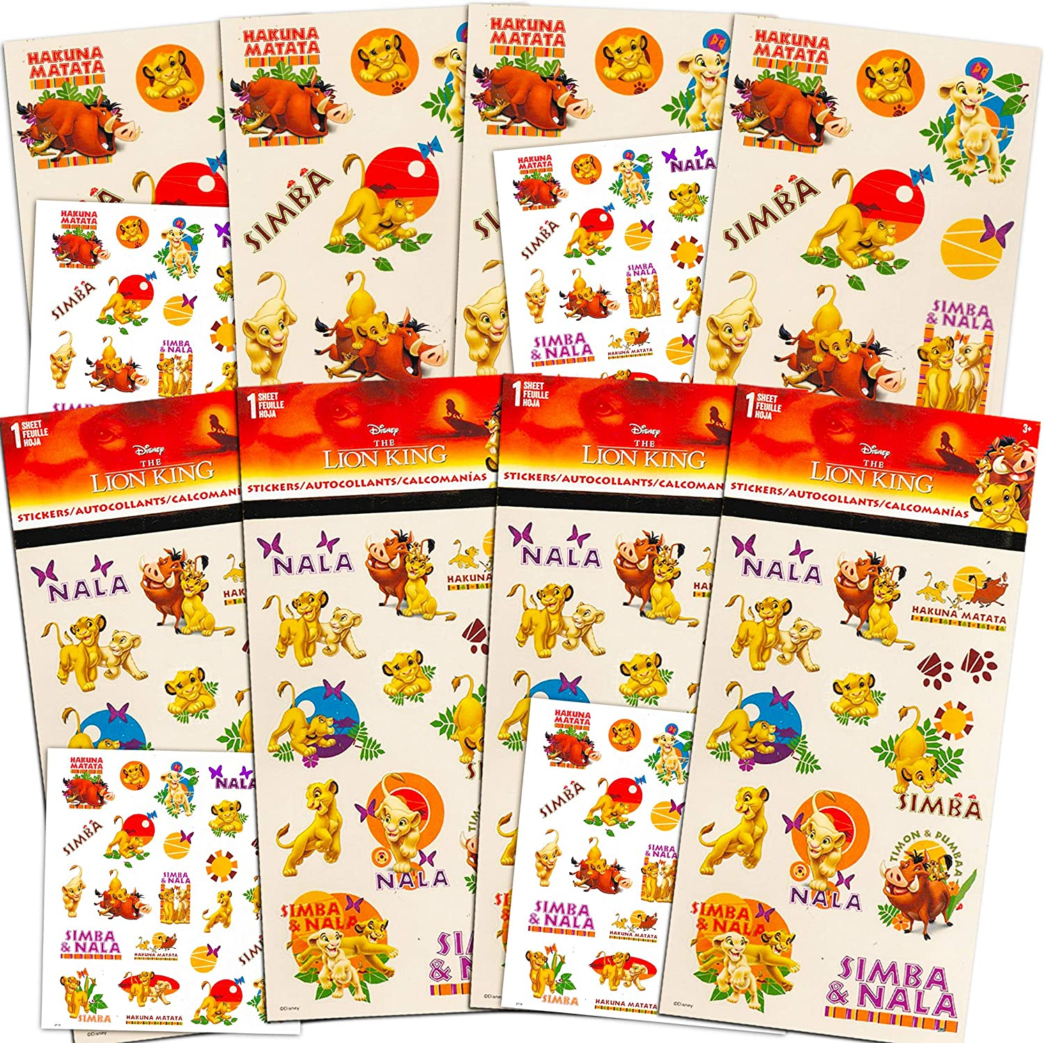 4 Sheets Party Favors Teacher Supply Simba 80 Disney Lion King Stickers