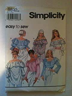 product image for Simplicity 8835 Misses Tops Size AA; XS,S,M