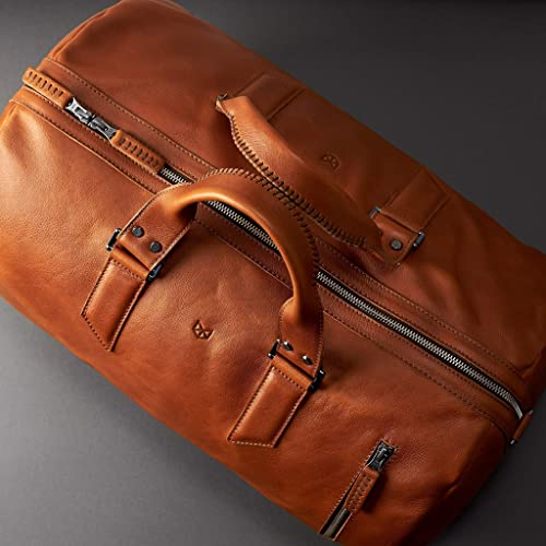 facf9f952216e8 Amazon.com: Capra Leather Duffle Bag 35L for Men, Tan Brown Shoulder Travel  Weekender, Gym Sports Carry On, Handmade Overnight Clothes Holdall.