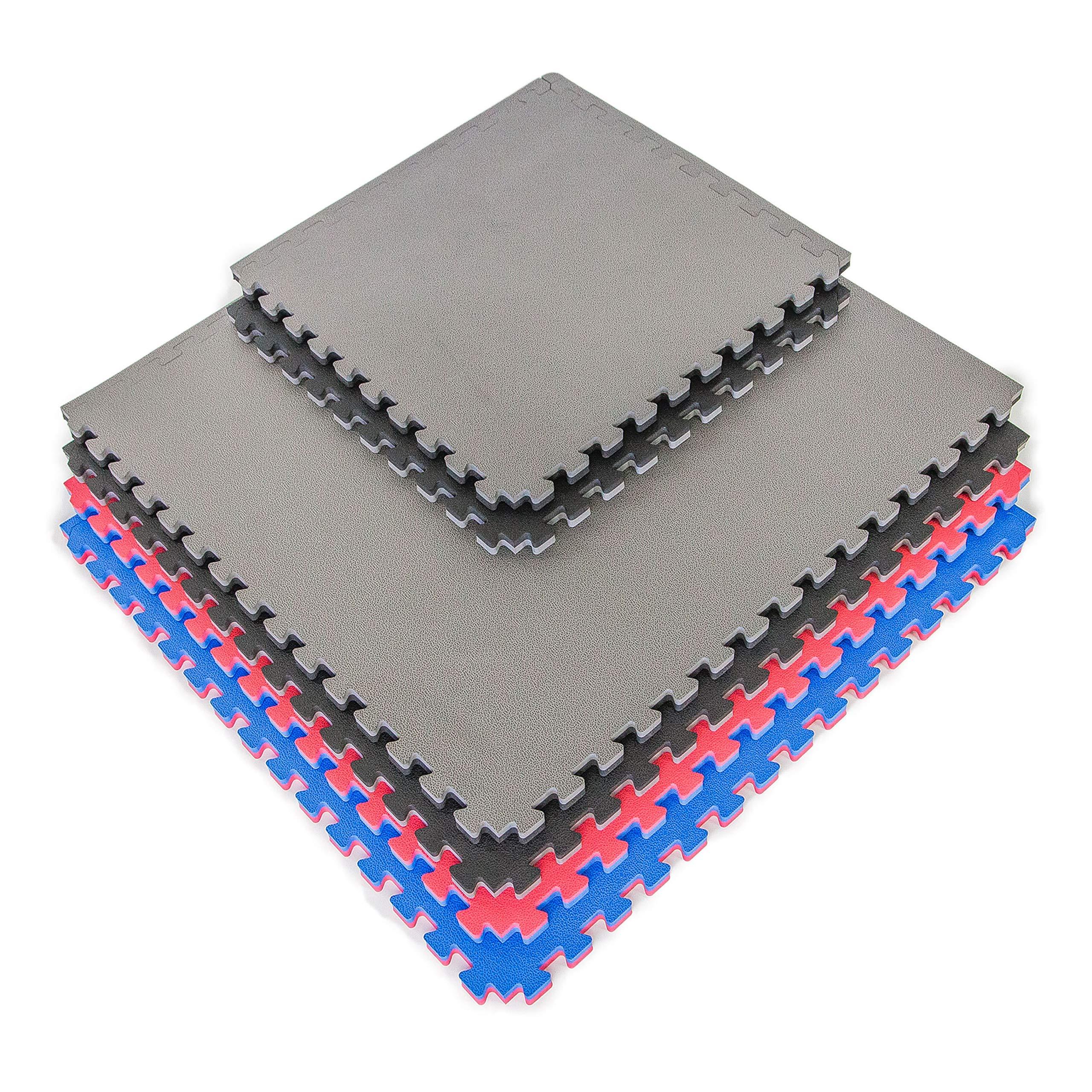 IncStores - 1'' MMA Interlocking Foam Tiles - Perfect for Martial Arts, Lightweight Home Gyms, p90x, Insanity, Gymnastics, Yoga, Cardio and Aerobics (Black/Grey, 5 Tiles (3ft x 3ft Tiles) 45 sqft)