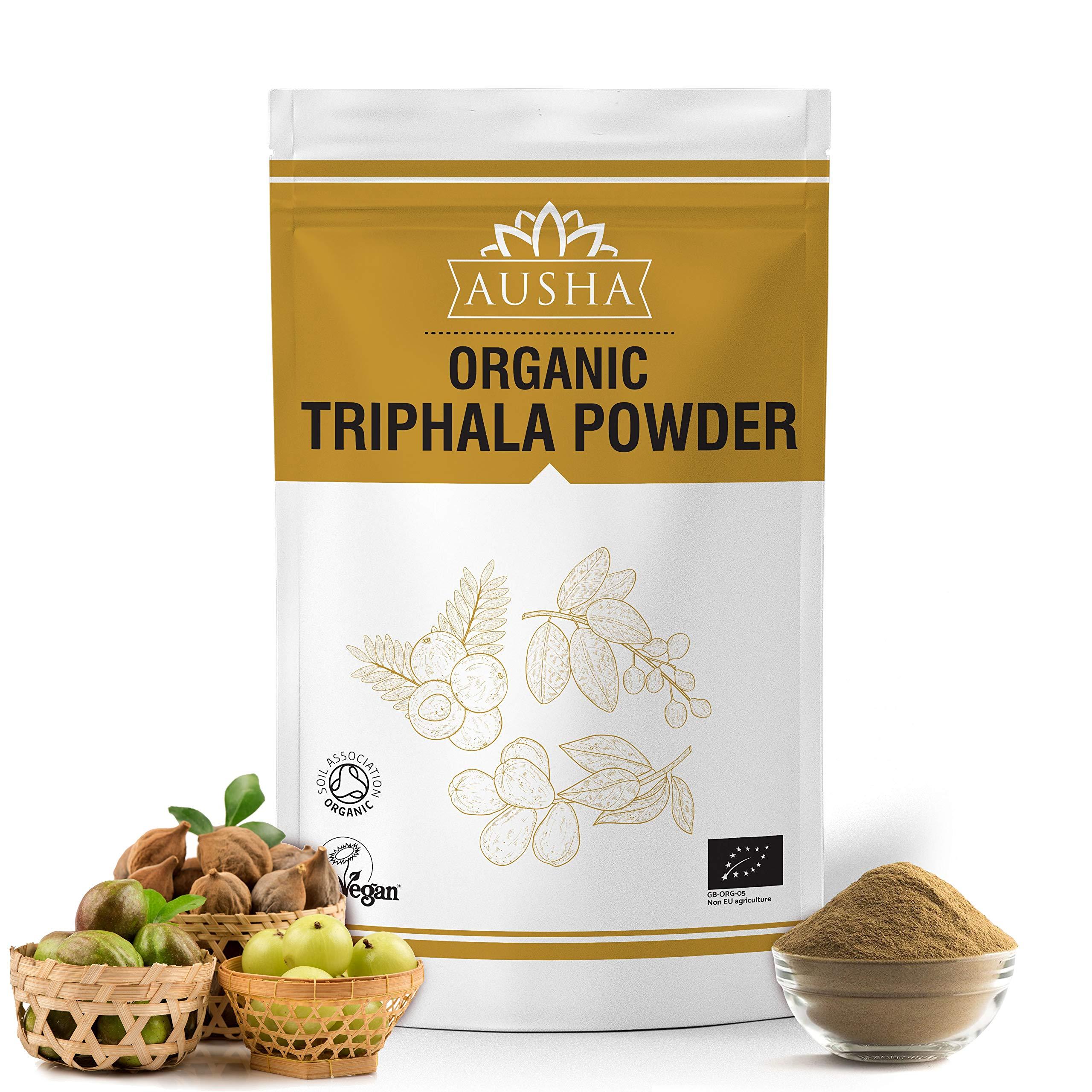 Ausha Organic Triphala Powder 250g | Blend of Amla,Haritaki,Bibhitaki | Certified Organic by Soil Association | Vitamin C,Aid Digestion, Detox, Immunity