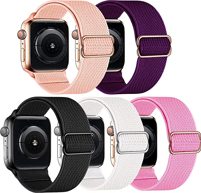 FEIYOLD 5 Packs Stretchy Solo Loop Bands Compatible with Apple Watch Bands 38mm 40mm 42mm 44mm for Women Men,Adjustable Sport Elastics Nylon Wristband Compatible with iWatch Series 6/5/4/3/2/1/SE