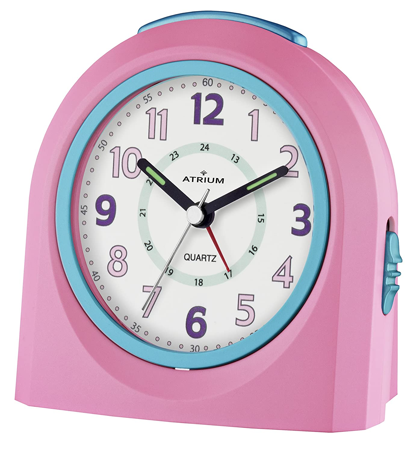 ATRIUM alarm clock analogue pink silent, with light and snooze function A921-17