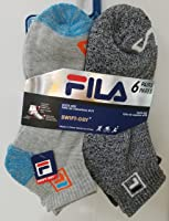 FILA 6 Pairs Blue/Green Gray Swift-Dry Comfort Stretch Sock Size 9-11