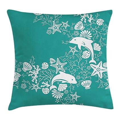 Mar Animales Manta Almohada Funda de cojín por Ambesonne, delfines flores mar vida Floral papel