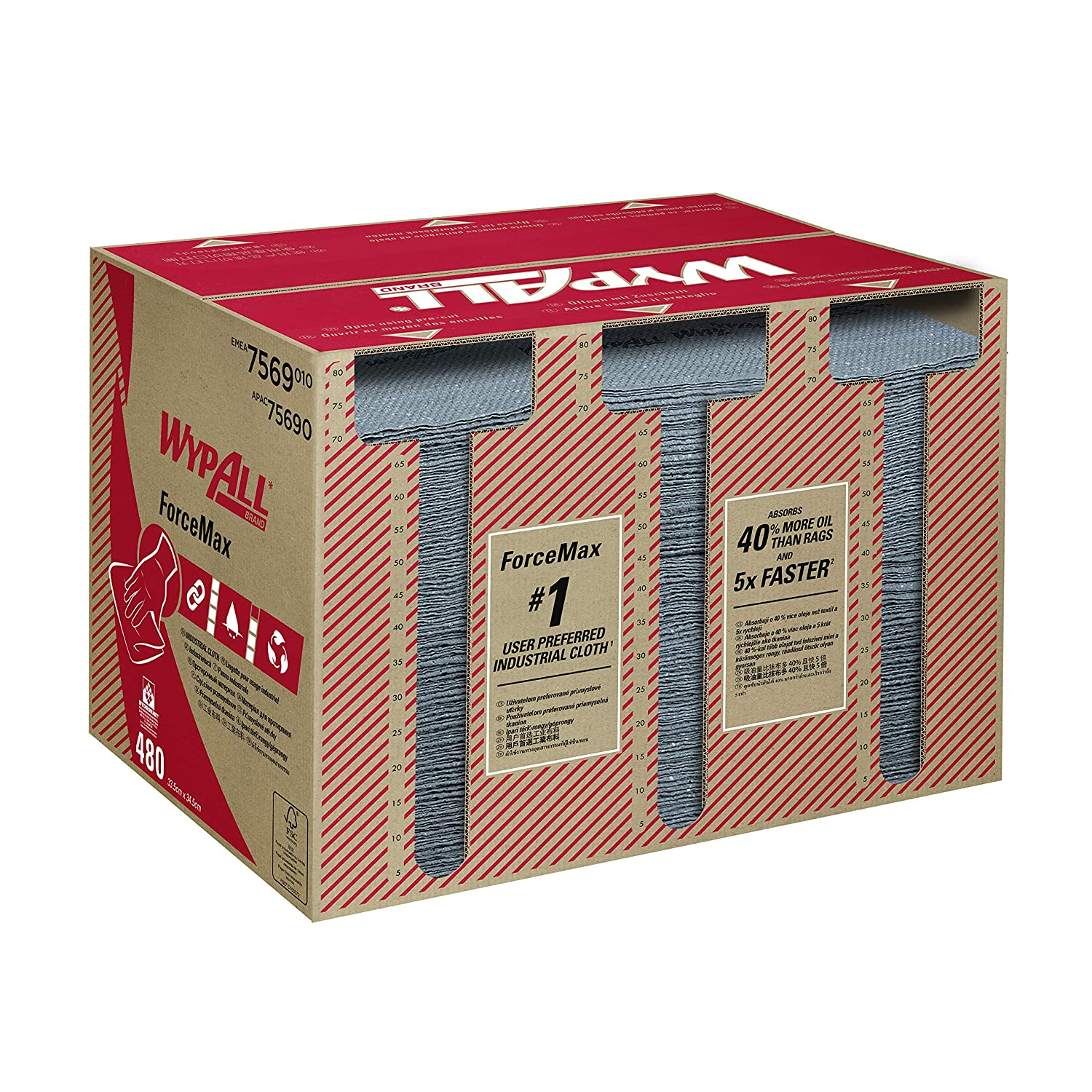 WypAll* ForceMax Industrial Cloths, 7569. 1 box x 480 grey, 1 ply cloths (480 total) Kimberly-Clark Professional