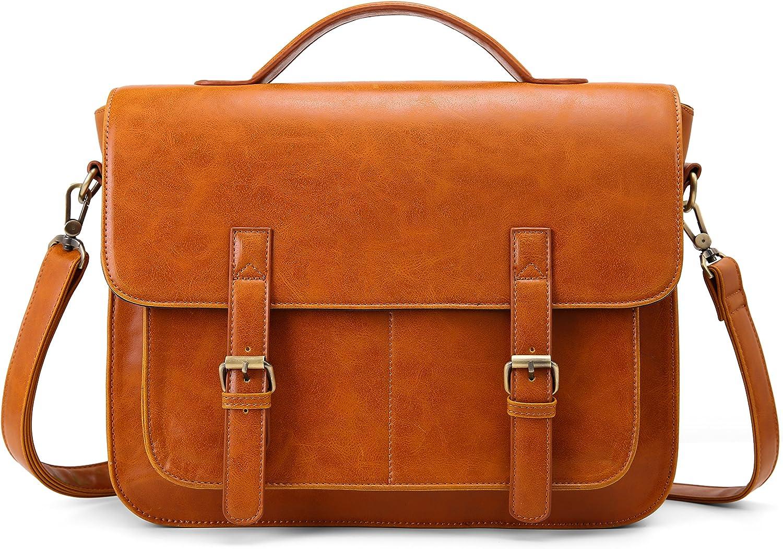 ECOSUSI Messenger Bag PU Leather Laptop Briefcase 14 inch Computer Shoulder Satchel Bag for Women and Men, Brown
