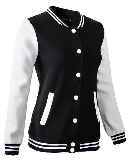 778432440 Women Varsity Baseball Jacket Casual Sweatshirt