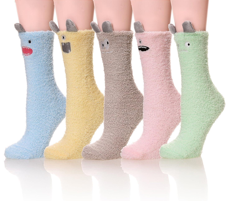 5 colors Womens Soft Cute Funny Animal Designe Microfiber Slipper Socks Cozy Fuzzy Winter Warm Socks