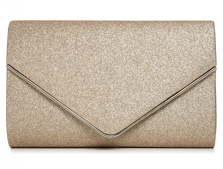 VINCENT PEREZ Damen Clutch Abendtasche Unterarmtasche Umhängetasche Glitzer mit abnehmbarer Kette (120 cm) 22 x 13 x 5 cm (B x H x T) Farbe:Gold 1701