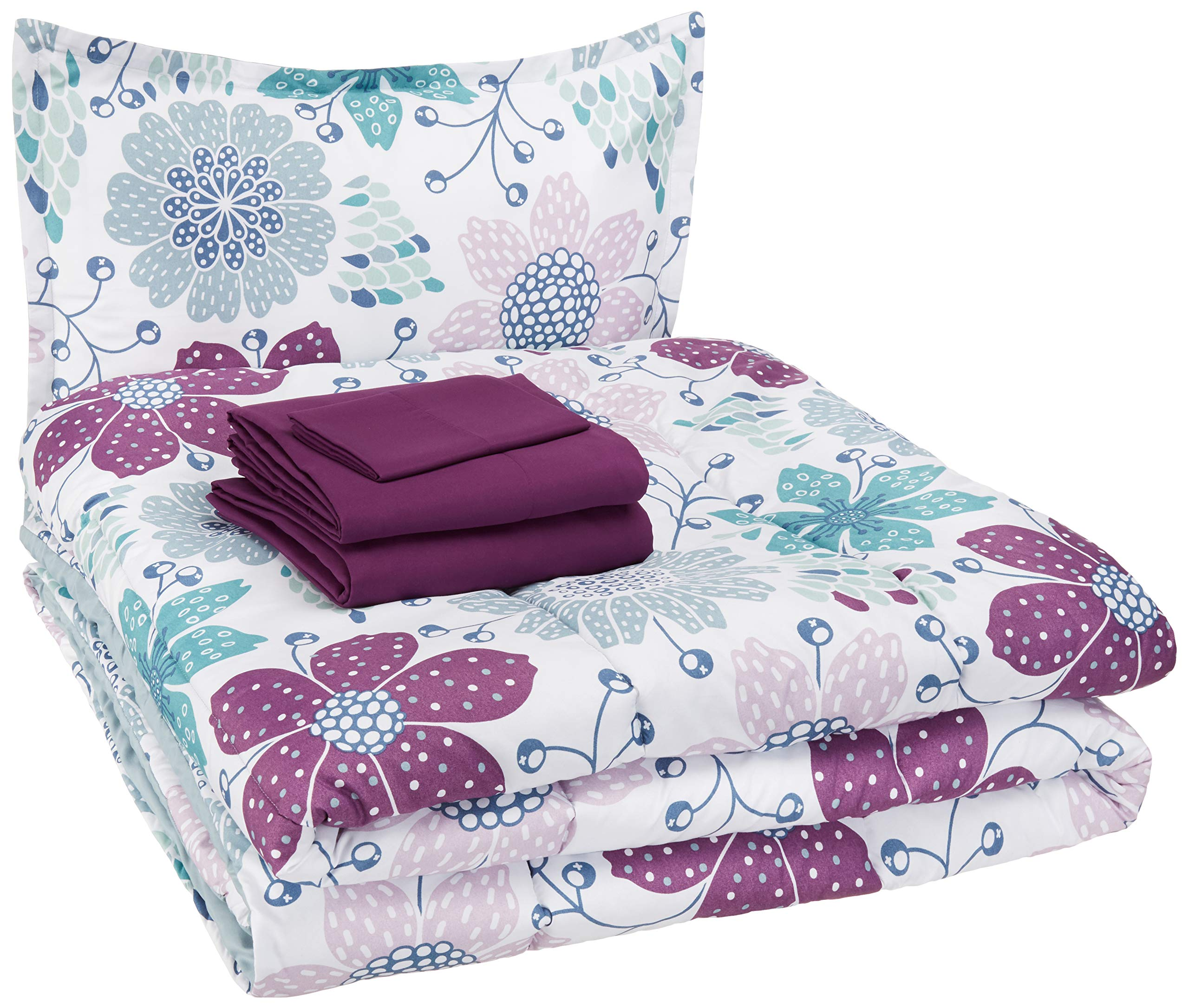AmazonBasics Kid's Bed-in-a-Bag - Soft, Easy-Wash Microfiber - Twin, Purple Flowers
