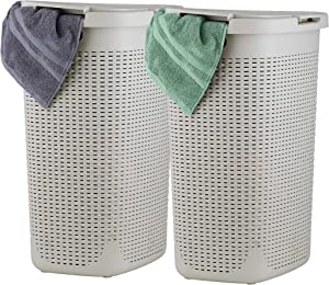 Superio Laundry Hamper with Lid 60 Liter Bone Ivory (2 Pack) Plastic Wicker Hamper Basket with Cutout Handles, Deluxe Bin to Storage Dirty Cloths in Washroom Bathroom