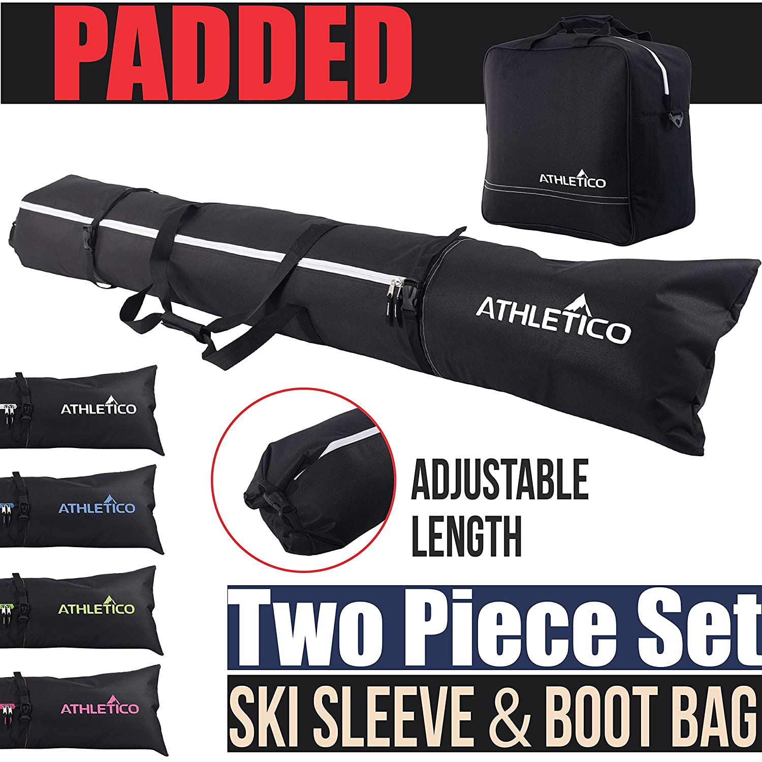 Up To 2 Sets & Poles Sporting Goods Snowboard Accessories TSE Double Ski Bag 185cms with Padded Binding Protection