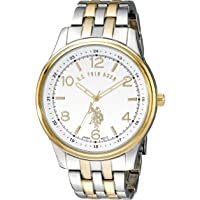 U.S. Polo Assn. Men's Quartz Watch, Analog Display and Gold Plated Strap USC80302